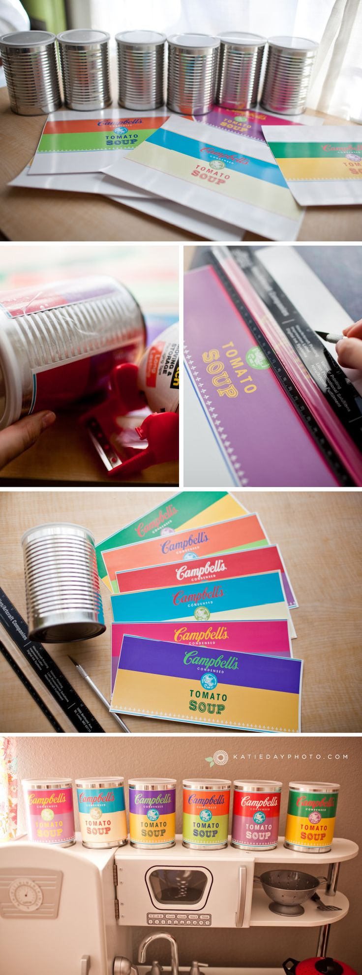 I Made a Free Printable and DIY for you! If you can cut paper! You can do this!!!  Warhol-style Campbells Soup Toy Cans