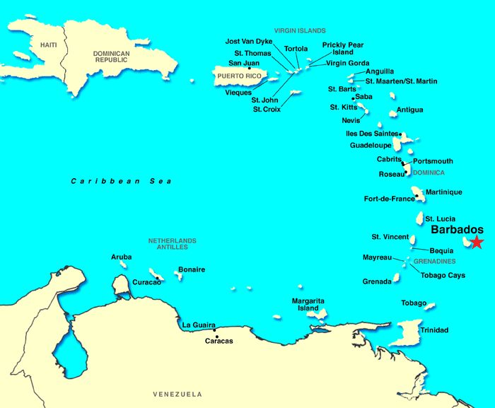 Southern Caribbean Cruise including Barbados, Antigua, Anguilla...any of those down that way! :)