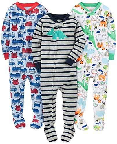 Baby Boy Clothes Simple Joys by Carter's Baby Boys' 3-Pack Snug Fit Footed Cotton Pajamas, Fire Truck/Dino/Animals Green, 18 Months