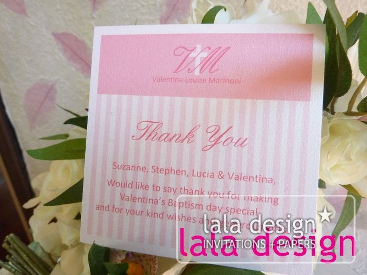 Pink stripe thank you card