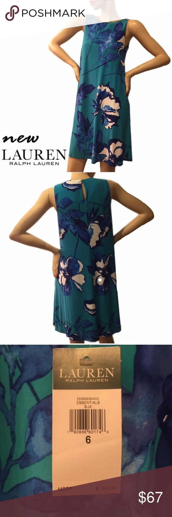 LAUREN Ralph Lauren A-line Floral Trapeze Dress A vivid floral print complements the flattering A-line silhouette of this jersey dress in easy care polyester elastane. Rounded neckline with a hook-and-eye keyhole at the back  It was never worn Lauren Ralph Lauren Dresses Asymmetrical