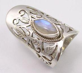 """Женственное кольцо с лунным камнем в форме """"маркиза"""""""