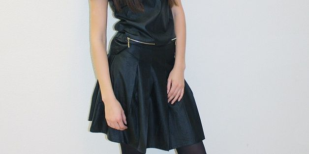 Very young deux pieces black cotton made like leather