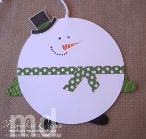 Mr. Snowman Holiday Tags by Monika Davis Stampin' Up! - with a tutorial