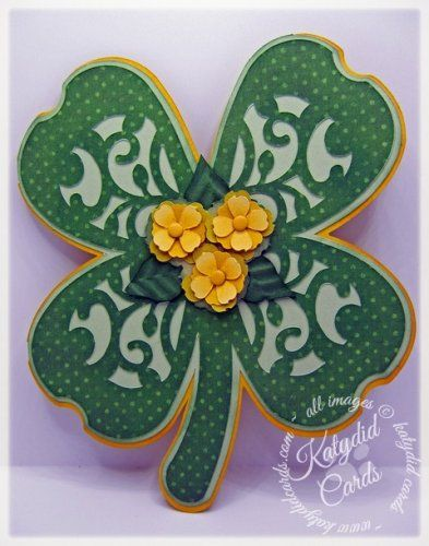 Card made for Paper Crafting World using the Clover Shaped Card, a Pazzles exclusive!