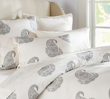 ✓   Rayna Paisley Duvet Cover & Sham - Gray  [my duvet... it's so much more pretty in person]