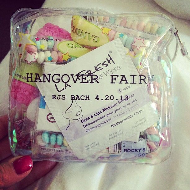 Cute idea for gift baskets for the girls hangover kits