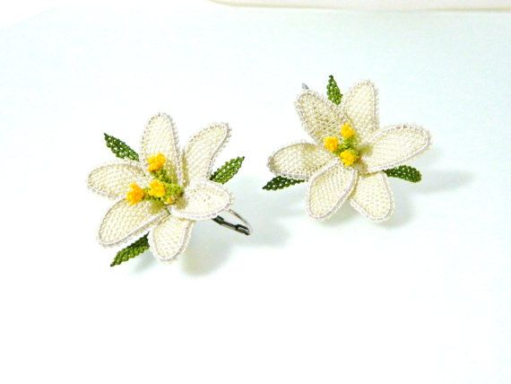Handmade beige earrings silk needle lace by guldemirdinc on Etsy, $50.00