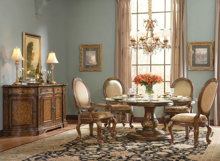 Hooker Furniture Beladora 72 Round Glass Top Table Set Formal Dining