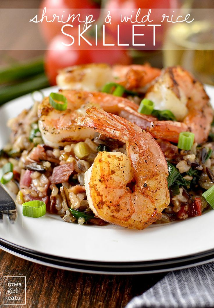 Shrimp and Wild Rice Skillet (Iowa Girl Eats) | Skillets, The depths and The lemons