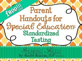 Need a quick parent handout to easily explain standardized testing scores to parents during IEP meetings?  Then this freebie is for you!  If you like it, please leave feedback!   If you like this product, you may be interested in my other Parent Handouts:  Parent Handouts for Special Education:  New products are always 50% off for the first 24-hours.