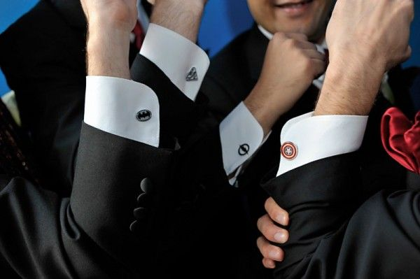 Groom's love for superheroes, was evident in the cufflinks worn by him and his groomsmen.