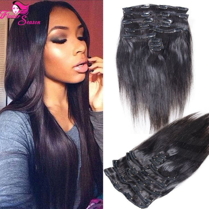 13 best luffywighair clip in hair extension images on pinterest silky straight clip in human hair extensions brazilian virgin hair full head set pmusecretfo Images