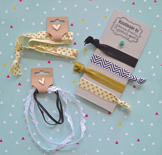 Packaging /Easy DIY Elastic Hair Ties and Headbands DIY hairties elastic chevron gold polkadot hobbylobby lace headband blackandwhite ontheblog handmade craft www.letsglitterandglue.com