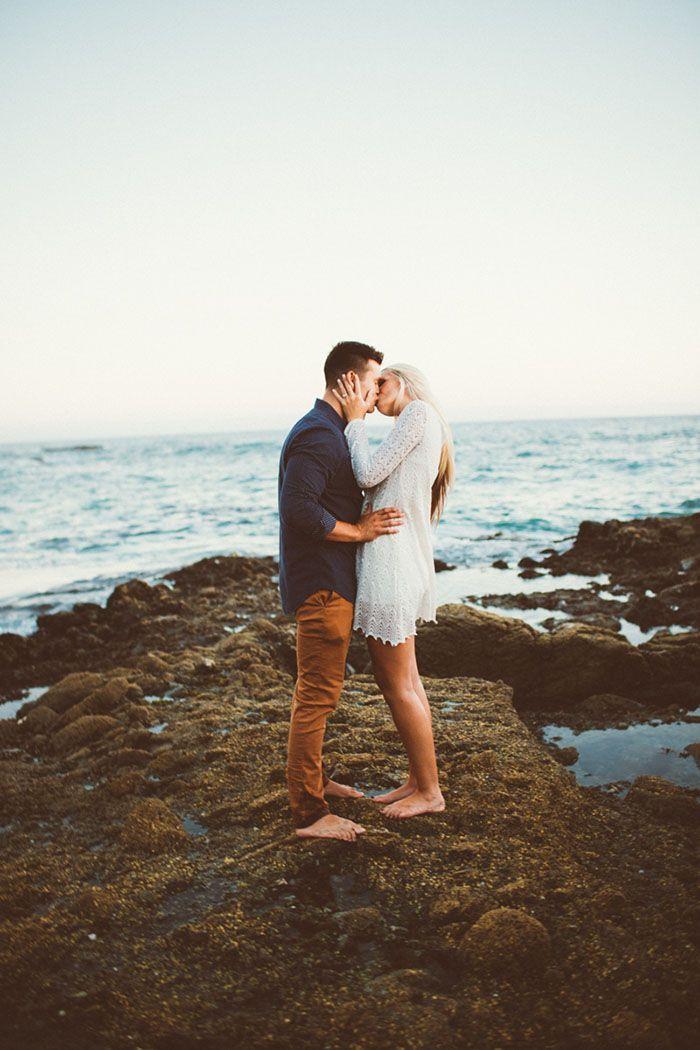 Romantic beach engagement photography
