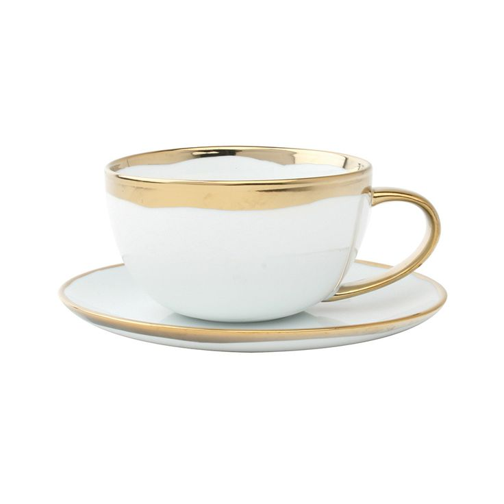 Buy Canvas Home Dauville Cup & Saucer - Gold | Amara