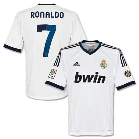 Cristiano Ronaldo Number 7, Real Madrid Home Jersey 2013 Kit. Soccer ...