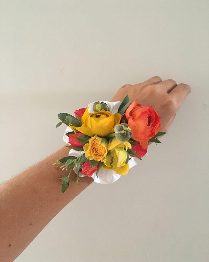 CBL156 wedding Riviera mata yellow and coral wrist corsage