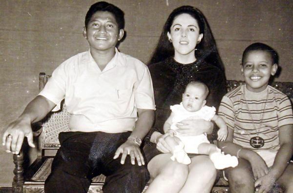 Obama with his step-father Lolo Soetoro, his sister Maya Soetoro and his mother Ann Dunham.
