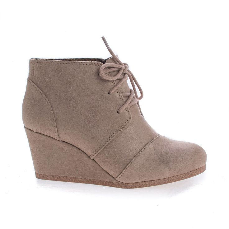 RexLt TaupeImsu lace up oxford ankle bootie round toe high hidden wedge heel womens shoe