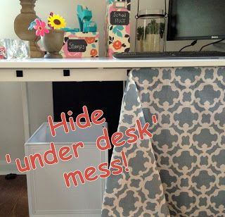 Loveyourroom Diy Home Office Desk Skirt Hides Clutter Good For Tables At School