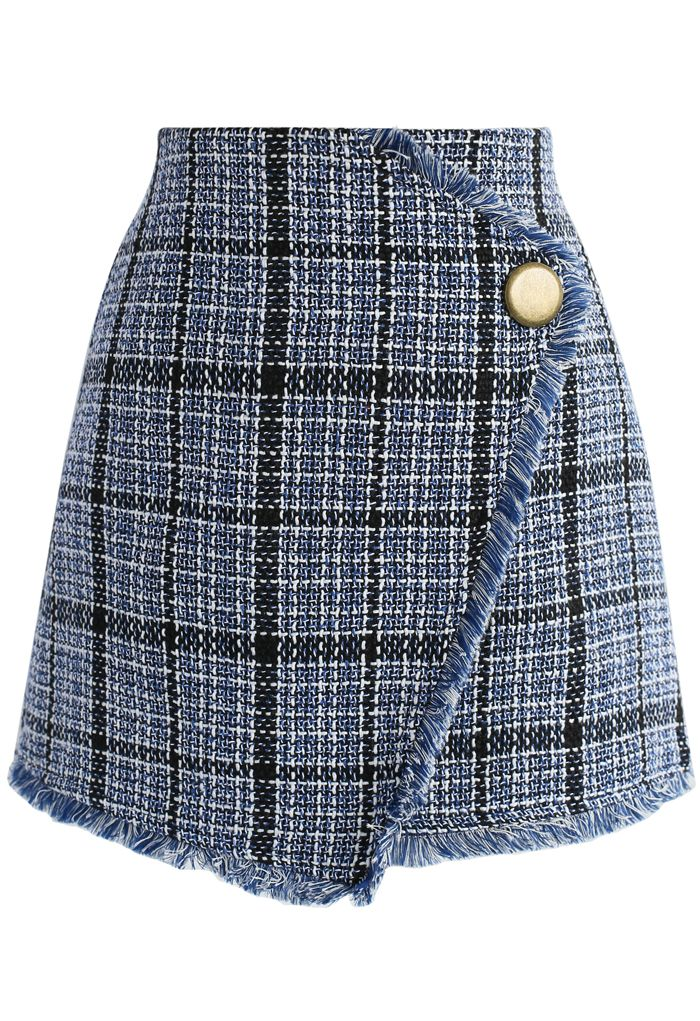 Winsome Asymmetry Grid Tweed Flap Skirt in Navy - New Arrivals - Retro, Indie and Unique Fashion