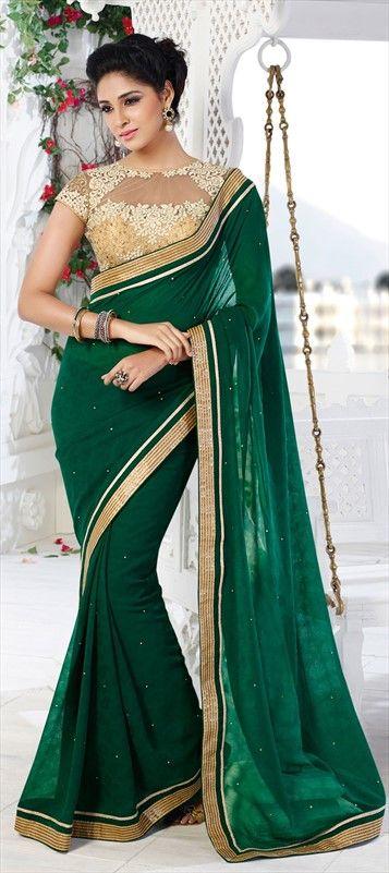 EMERALD GREEN - Plus, a sexy sheer blouse! #saree #Partywear #bride #wedding