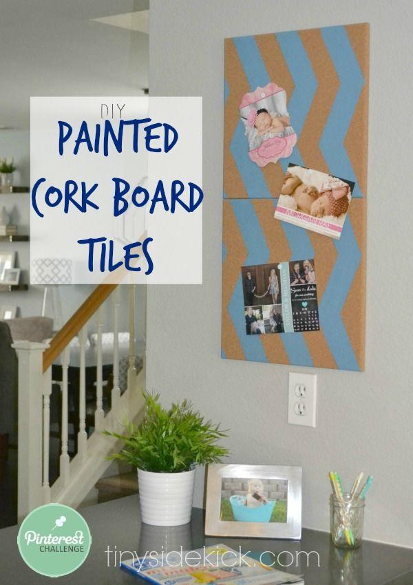 Chevron Painted Cork Board Tiles {Pinterest Challenge Week One}
