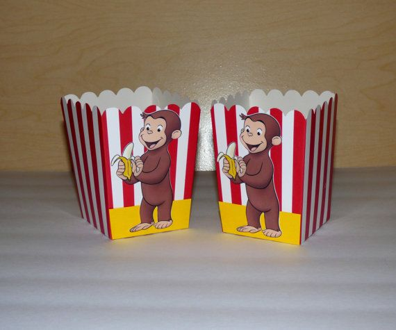 Curious George Favor Box Popcorn Box Curious by PishPoshPartique