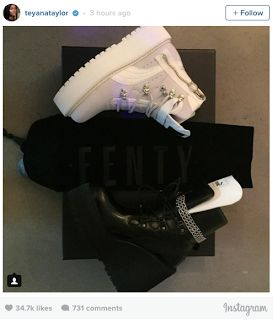 "Rihanna and Teyana Taylor: Fenty Puma Sneaker Boot Wedge  Yeezus has done it again. The rapper has a good relationship with bothRihannaandTeyana Taylorand now the two ladies are on good terms. Back in 2013 the two singers had a nasty feud on Twitter. After Teyana posted a video of herself singing Anita Baker's classic song ""Caught Up in the Rapture"" Rihanna made it clear that she didn't approve.  Rihanna decided to post a video of a male drag queen imitating Teyana's video. Teyana clapped…"