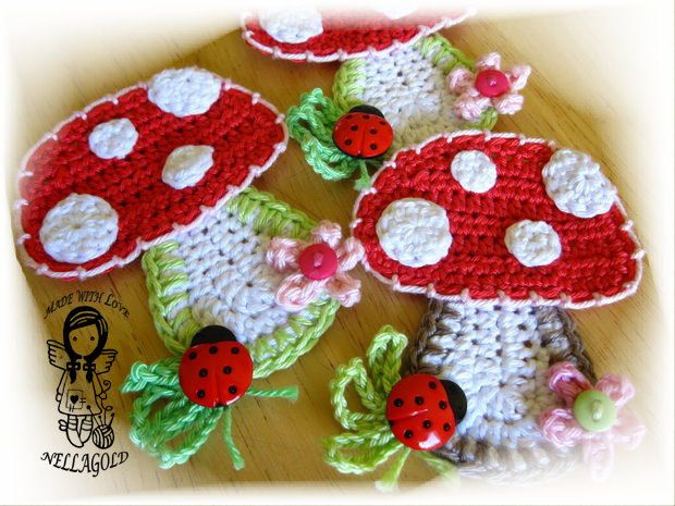 Crochet PATTERN Applique Mushroom DIY von NellagoldsCrocheting