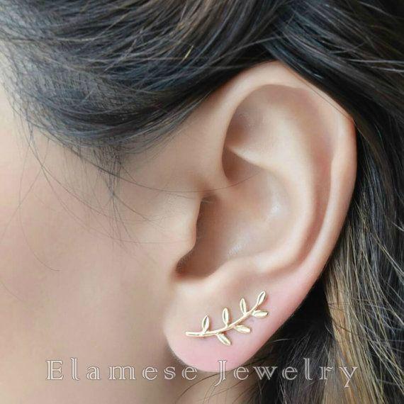 Leaf Ear Climber Gold Ear Cuff Climbing Earrings Leaves Climbing Earrings Gold Ear Pins Simple Earrings