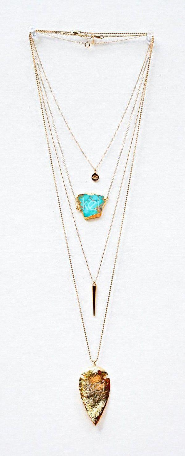 Jewels: gemstone gold necklace boho stacked jewelry boho jewelry gypsy native american turquoise