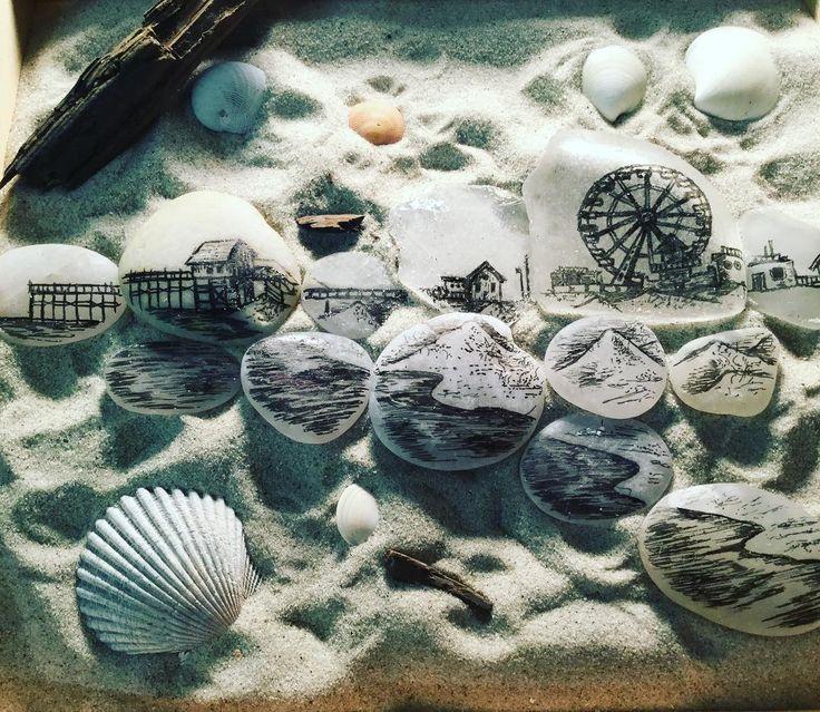 Myrtle Beach, SC.  Ink pen on seaglass.  #draw #myrtlebeach #ocean #beach #seaglass #seashells #shore #coast #boardwalk #pier #ferriswheel #sea #coast #southcarolina #sharktooth #illustration #art
