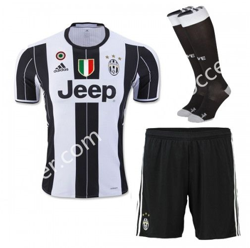 2016/17 Juventus Home White Black Thailand Soccer Uniform With Patches and  Socks AAA
