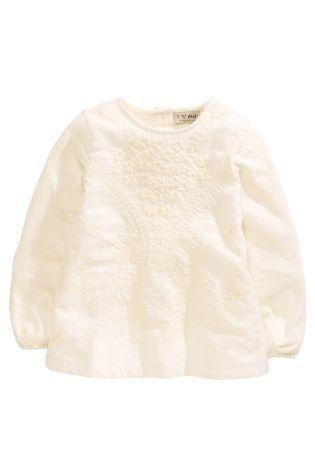 Купить Кремовая блузка с вышивкой (3 мес.-6 лет) - Покупайте прямо сейчас на сайте Next: Россия