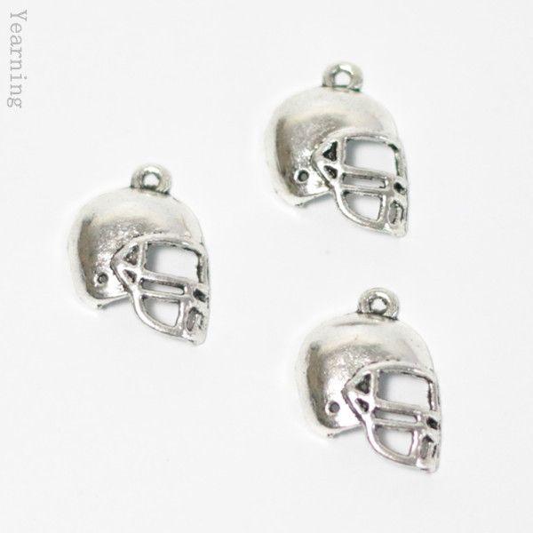 Тоска ювелирные изделия выводы серебра год сбора винограда сплава американский футбол шлем подвески подвески приспособленный шариками Nacklace браслет 20 * 15 мм 100 шт./лот