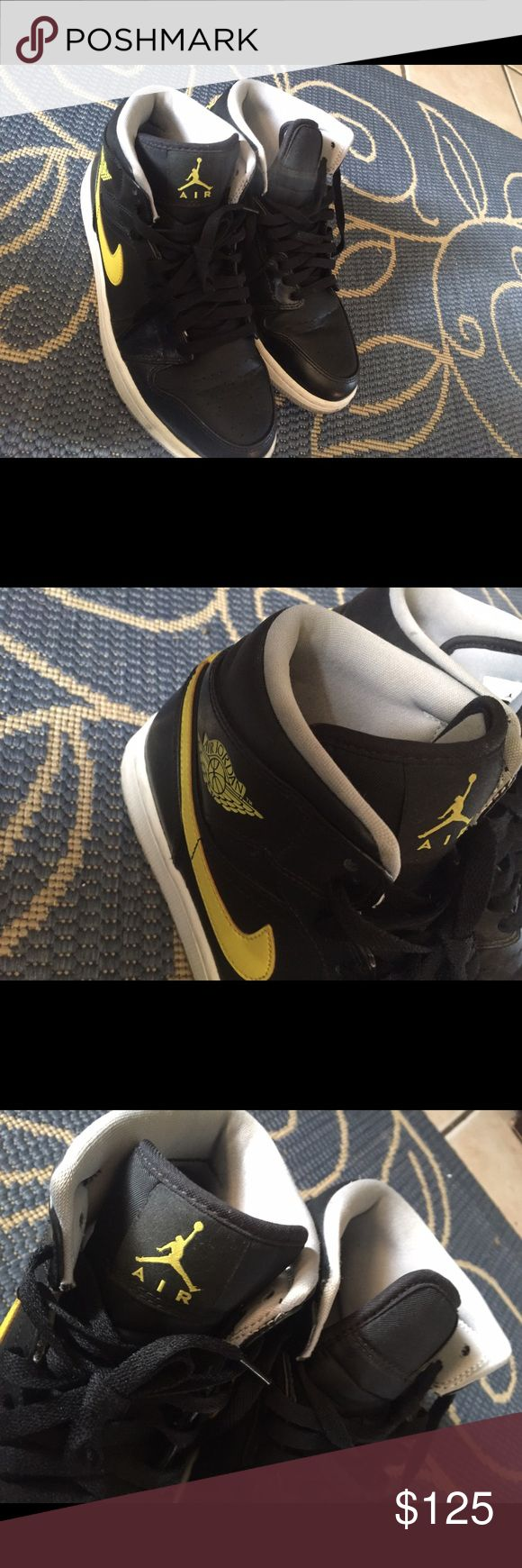 Jordan Nike Air Jordan 1's yellow and black in good condition actually and would love for someone to have these and put these to use they are authentic Jordan Shoes Sneakers