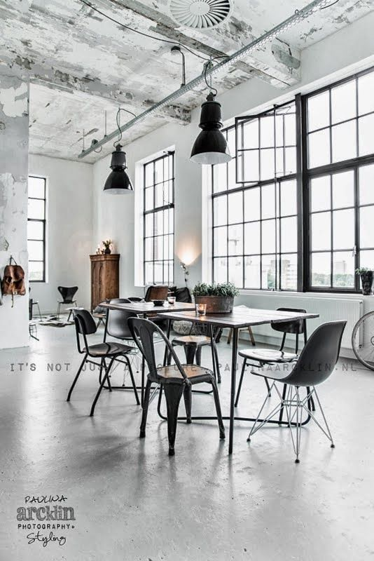 Reminds me of the studio now albeit not quite so clean. Large windows, lots of light; reuse, recycle, reclaimed materials; Home Shabby Home: Industrial style