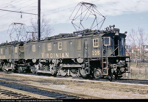 (EL3A). Virginian Railroad #105.   ALCO / Westinghouse boxcab EL3A electric locomotive