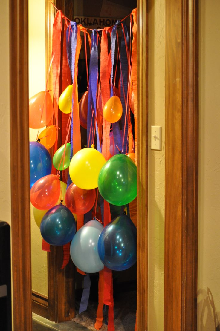 Do this down the hall once she breaks through the door balloons :) happy 7th :)
