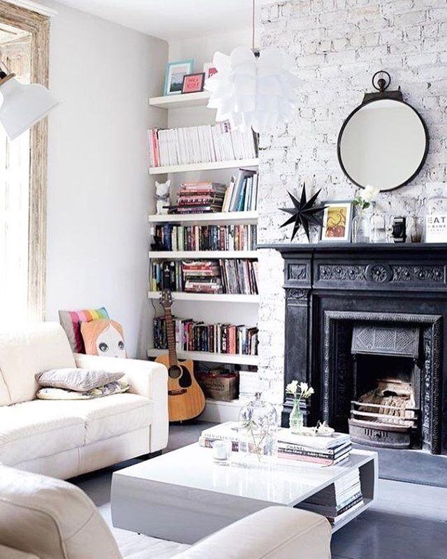 #Livingroom #Brickwall #Fireplace #Sofas #Bookshelf #White #Lamp #Lighting