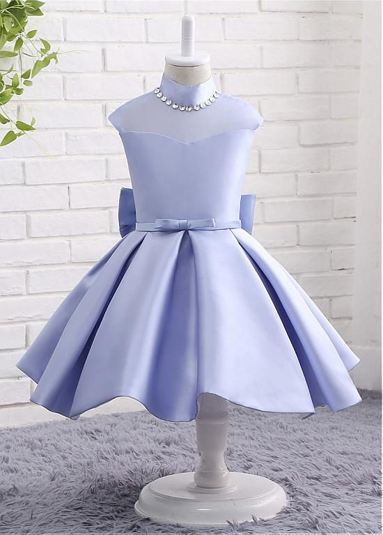f93dc26fc4 Hight quality In Stock Modern Organza   Satin High Collar Neckline Ball  Gown Flower Girl Dresses With Bowknot   Beadings in Adasbridal.com in low  price at ...