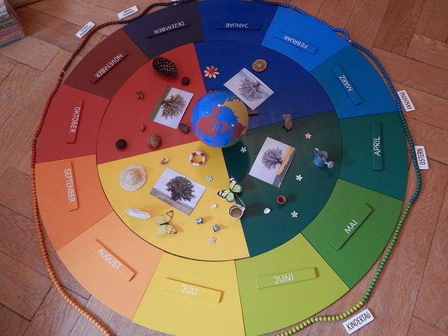 Dieser Jahreskreis mit 120 cm Durchmesser und Jahreskette eignet sich gut, um mit einer Gruppe zu Jahreszeiten oder den Jahreslauf zu arbeiten. Auch als Kreis zum Geburtstag (Montessori) ist er...