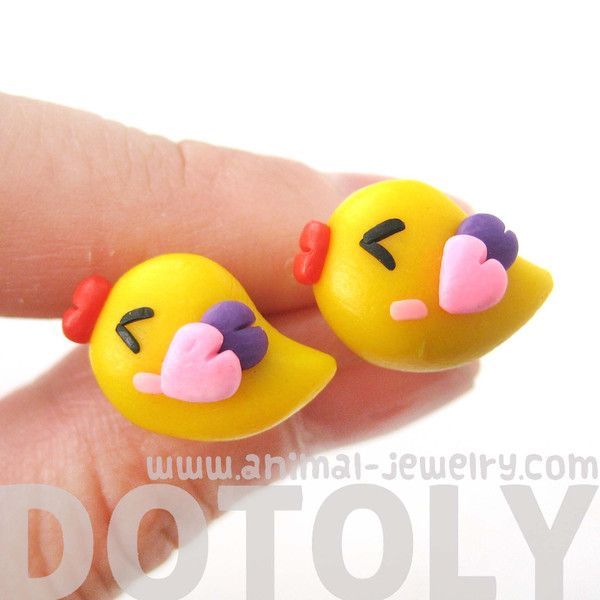 - Description - Details A pair of super adorable baby chick shaped bird stud earrings made from polymer clay! Check out our collection of bird themed animal jewelry and products in our store! Store FA