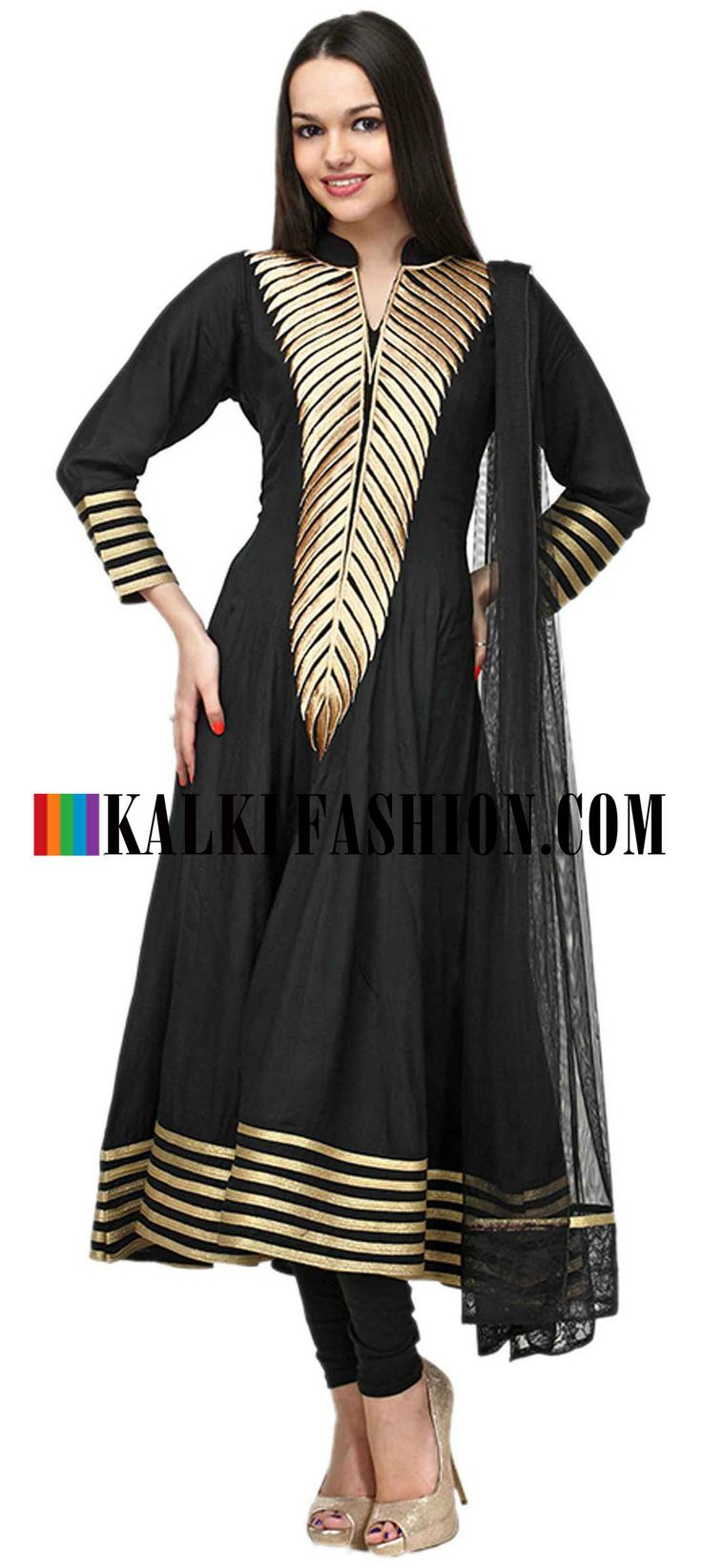 Buy Online from the link below. We ship worldwide (Free Shipping over US$100)  http://www.kalkifashion.com/black-embroidered-anarkali-suit-set.html