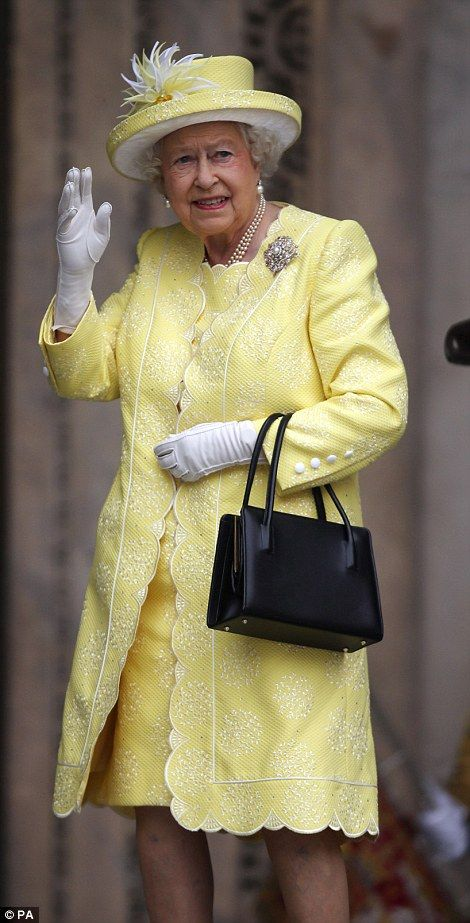 It's MY birthday! The Queen was in good spirits as she arrived at St Paul's Cathedral, looking splendid in yellow, for her celebratory service 10 Jun 2016