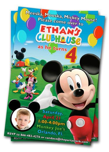 Mickey Mouse Clubhouse Birthday Invitations Printable Invites With Photo