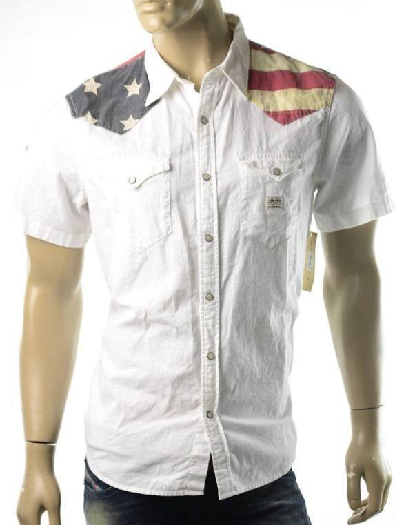 Ralph lauren denim supply shirt mens s s usa flag button for Patriotic button up shirt