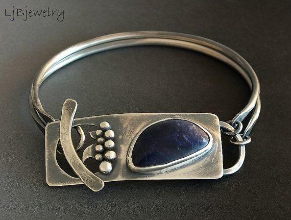 Sterling Silver Bracelet, Blue Sodalite Gemstone Bracelet, Blue Stone Bracelet, Bangle Bracelet, OOAK, by LjBjewelry
